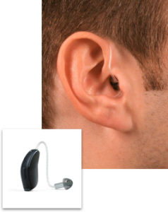 RIC style hearing aid in ear