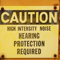 caution sign hearing protection required